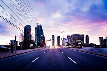 Mississauga Canada skyline at sunset
