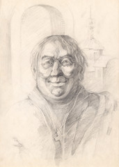 The face of a Catholic monk who is very pleased with himself and his life. Graphic pencil portrait. The head of a man painted with graphite on paper. Academic tonal drawing.