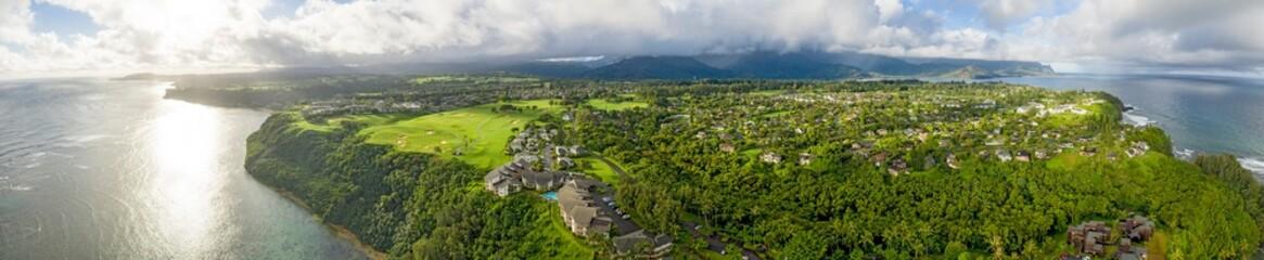 Princeville Kauai Hawaii Sunrise Aerial Panoramic Landscape View