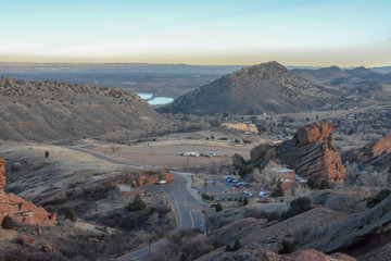 View of the entrance to Red Rocks park outside of Denver, Colorado.