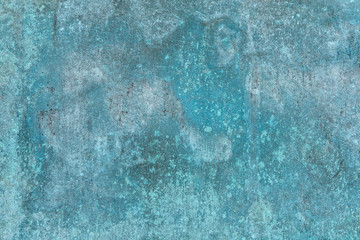 Old Green Brass Surface. Grunge Sheets Of Sea Water-colored Metal. Oxidized Bronze Covered By Rust And Corrosion.