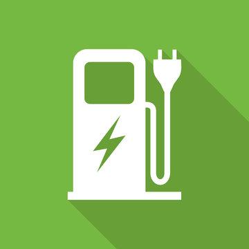 Electric car charging station long shadow symbol.