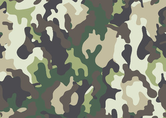 Abstract military or hunting camouflage background. Woodland  camo texture vector. Green tone stlye.