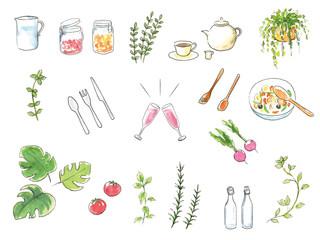 Lamas personalizadas para cocina con tu foto インテリアキッチン小物手描き水彩イラストセット