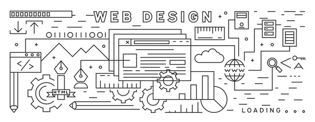 Line Art Design. Web Design Theme. Black And White  Thin Line Design