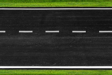 Asphalt road with marking lines white stripes texture Background
