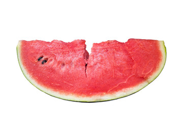 Watermelon sliced on a white backdrop.