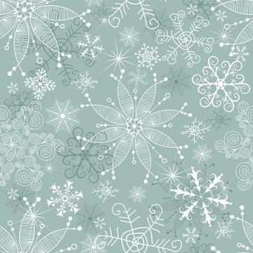 Pastel green winter seamless christmas pattern