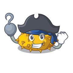 Pirate kiwano fruits on the cartoon table