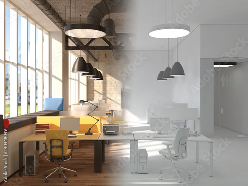 Unfinished project of country style coworking office