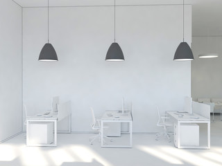 Side view of a white office of a company with a two large table, two computers standing on them. 3d rendering.