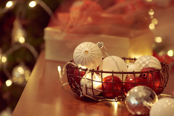 Christmas decorations and objects in red and gold for mock up template design.View from above