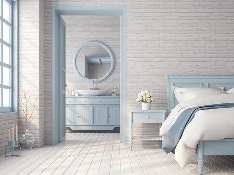 Vintage bedroom and bathroom 3d render,There are white brick pattern wall,wood plank floor,blue pastel color furniture and door,The room has sunlight shining through to inside.