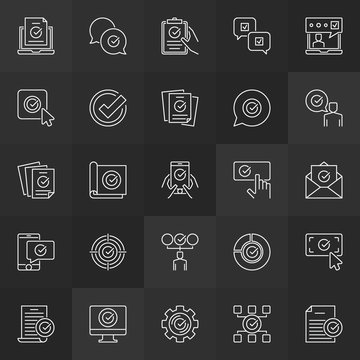 Check mark and approved outline icons. Certificate, accepted, confirm, approve linear signs or logo elements on dark background