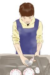 皿洗いをする男性2