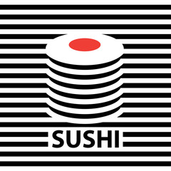 Vector banner with a picture of sushi on the striped black and white background. Sushi logo design, badge for sushi bar or seafood restaurant. Asian food
