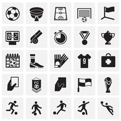 Soccer icons set on squares background for graphic and web design, Modern simple vector sign. Internet concept. Trendy symbol for website design web button or mobile app
