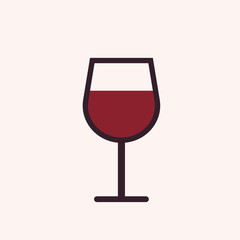 Wine glass outline icon, modern minimal flat design style, vector illustration