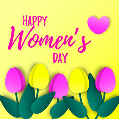 8 march greeting card. International women's day design with paper cut tulips.