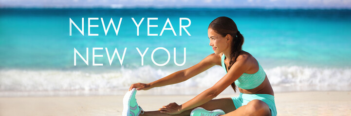 New Year new you resolution inspirational quote message on beach background. Asian woman training stretching on yoga mat for fitness goal. Banner panorama background.