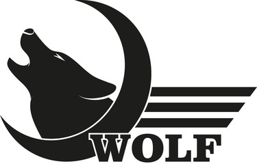 Logo wolf semicircle strip and text
