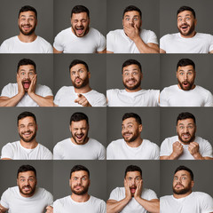 Collage of young man expressions and emotions
