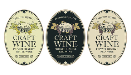 collection of vintage labels for wine bottles with grapes