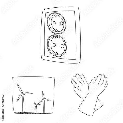 Vector Design Of Electricity And Electric Symbol Set Of Electricity