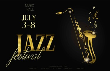 Jazz music festival, poster background template. Saxophone with music notes. Flyer. Vector design. Fotomurales