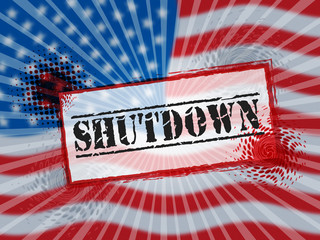 Usa Shutdown Political Stamp Government Shut Down Means National Furlough
