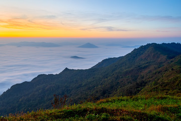 Landscape of sunrise on Mountain at  of Phu Chi Dao ,Thailand