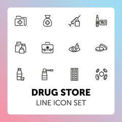 Drug store line icon set. Pills, syringe, eye drops. Medicine concept. Can be used for topics like medication, pharmacy, treatment