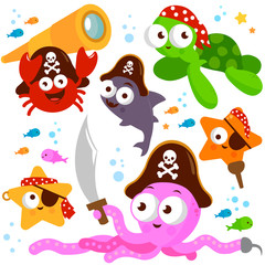 Vector illustration set of colorful pirate sea creatures with swords, spyglass, hooks and pirate hats.