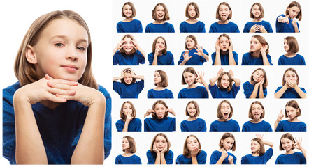 Set of various emotional pictures of teen girl, close-up, white background