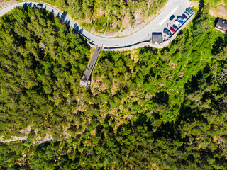 Stegastein viewpoint and parking area, Norway. Aerial view.