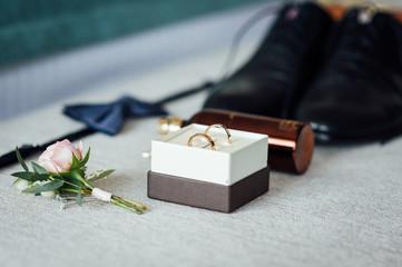 set of men's accessories groom wedding day preparation