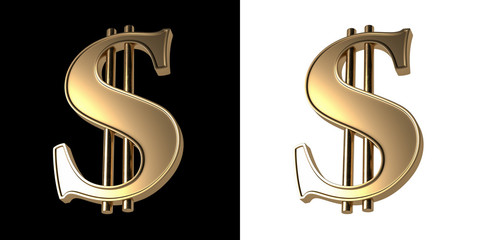 Three-dimensional image of the Golden dollar sign. Isolated on black and white background.