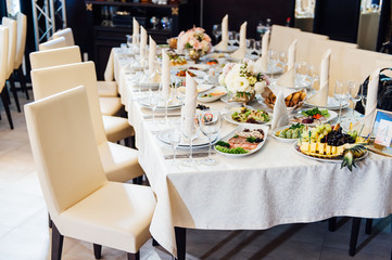 table set for wedding or another catered event