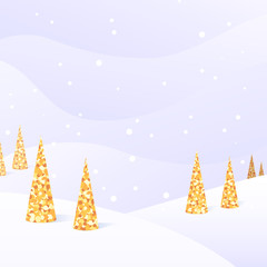 Winter light square background with snow, trees and place for text.