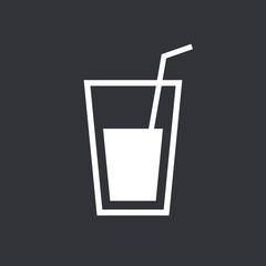 Glass with straw icon, modern minimal flat design style vector illustration, drinking glass symbol