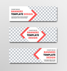 Set of horizontal white vector web banners with diagonal elements and orange lines and place for photo.