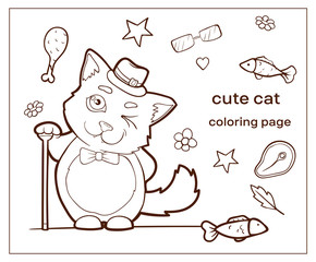 Cartoon character cute cat. Coloring page kitty.