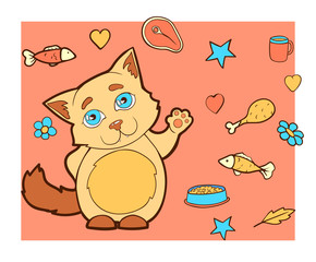 Cartoon character cat. Color background with a kitty.