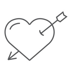 Heart pierced with arrow thin line icon, love and valentine, cupid sign, vector graphics, a linear pattern on a white background.