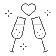 Champagne glasses thin line icon, celebrating and toast, sparkling goblets sign, vector graphics, a linear pattern on a white background.