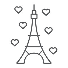 Eiffel tower thin line icon, france and paris, architecture sign, vector graphics, a linear pattern on a white background.