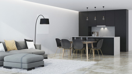 Modern house interior. Black kitchen. 3D rendering.