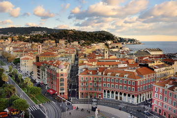 Foto op Plexiglas Nice Aerial view of Place Massena square in Nice, France