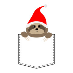Cute sloth face head in the pocket. Santa hat. Cartoon animals. Lazy character. Dash line. Animal collection. White and black color. T-shirt design. Baby background. Isolated. Flat design.