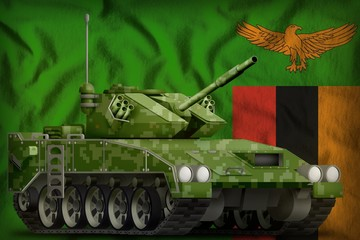 light tank apc with pixel summer camouflage on the Zambia national flag background. 3d Illustration